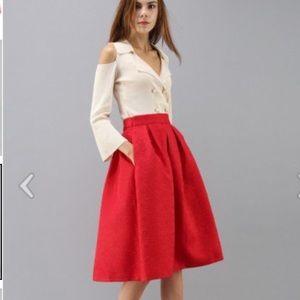 Chicwish Flower All Over Embossed Midi Skirt NWOT